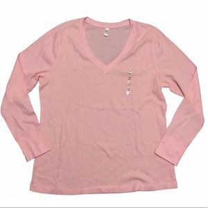 NWT Old Navy Pink Waffle Long Sleeve Top